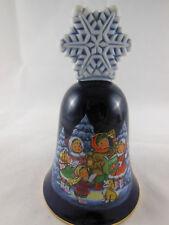 Vintage 1987 Avon Cobalt Blue Gold Trim Snowflake Carollers Christmas Bell