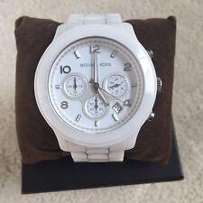 Michael Kors white ceramic chronograph watch