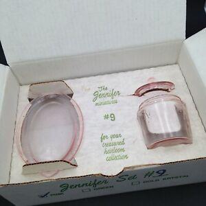 Vintage Mosser Depression Glass Pink Jennifer Miniatures Set #9 NIB Cookie Jar