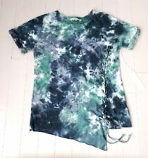YOUNG FABULOUS & BROKE YFB Tie Dye Lace Up Side LOOSE FIT Tee Top ( XS )