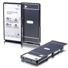 Aluminum Bumper 2 Pieces Cover Black for Sony Xperia Z5 Compact 4.6 Pouch Case