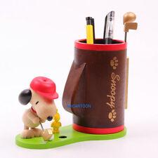 JAPAN SNOOPY & WOODSTOCK 3D WOODEN PLAY GOLF BRUSH POT PEN HOLDER 041444