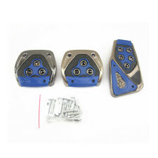 3x Blue No-drilling manual pedal Non-Slip Foot Pedal Pad Covers For BMW 3 series