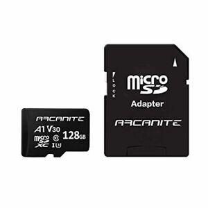 ARCANITE 128GB microSDXC Memory Card with Adapter - A1, UHS-I U3, V30, 4K, C10,
