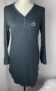 NWOT Calvin Klein Sleepwear Nightgown S Small Green Ribbed Long Sleeves