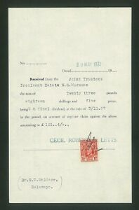 SOUTHERN RHODESIA - 1931 Bulawayo receipt with 1d Marshal (ME945b)