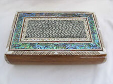 """Egyptian Mother of Pearl Wooden Inlaid Jewelry Box 10.5 X 6.5"""""""