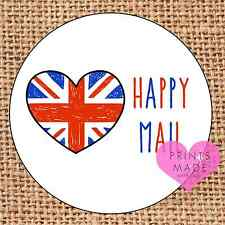 Happy mail stickers union jack heart 24 stickers personalised crafts