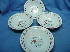 "4 Farberware White Christmas Dinnerware China 7"" Cereal Soup Bowls"