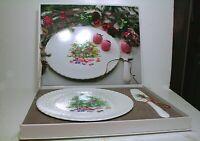"Mikasa Bone China ""Christmas Spirit"" Cake Plate with Server  Made in Japan MIB"
