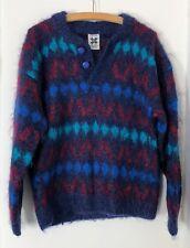 Women M Icelandic Design Mohair Wool Knit Chunky Sweater Blue Red Diamond Print