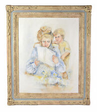 1970's Oil Painting Blonde Mother w Son Reading Paper over her Shoulder signd