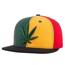 Mens Womens Boys Hemp Leaf Marijuana Weed Snapback Baseball Hat Cap New.