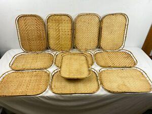 10 Vintage Bamboo Serving Trays 19 x 13 Woven Rattan BOHO Tiki Bar MCM