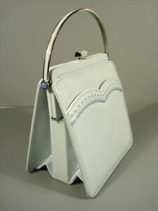 Judith Leiber Blue Karung Snakeskin Classic Lady Lapis Stone Handbag Purse New