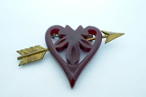 Vintage Carved Bakelite Heart With Arrow Running Through It Pin Brooch
