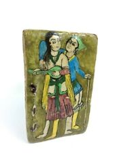 ANTIQUE-QAJAR POLYCHROME GLAZED POTTERY PLAQUE-TILE ROMANTIC COUPLE