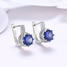 Women's White Gold Plated Sapphire Blue Rhinestone Heart Leverback Earrings Ture