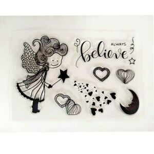 Magic Fairy Girl w/ Star Wand Moon & Hearts Always Believe 7pc Cling Stamp Set