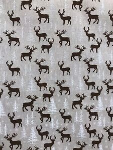 Christmas woodland stag design cotton canvas craft fabric 150cm wide