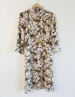 Chepe Italy Sz S Beige Brown Floral Print Mock Neck Long Sleeve Fit Flare Dress
