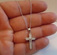 925 STERLING SILVER CROSS NECKLACE PENDANT W/ .75 CT LAB DIAMONDS/ 18'' LONG