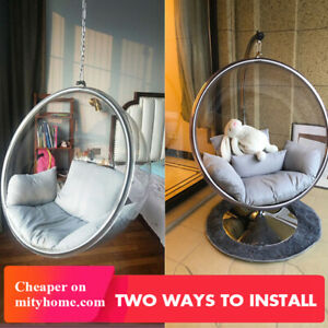 Hanging Bubble Acrylic Chair Standing Red Cushion Egg Ball Chair Swing Indoor