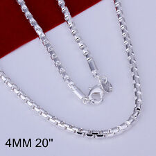 """Cool 925Sterling Silver Round Grid Chain Necklace 4MM 20"""" GN189"""