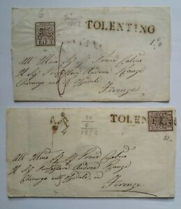 STATO PONTIFICIO 5 Baj - 2 busta lettera da Tolentino a Firenze viaggiate 1852