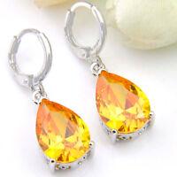 Water Drop Natural Yellow Citrine Gemstone Wedding Silver Dangle Earrings