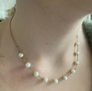 Vintage 9ct Gold Cultured Fresh Water Pearl Chocker Necklace 16 Inches