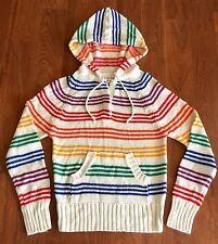 ITALIAN MOB VTG 90s RAINBOW STRIPED HOODED Sweater Knit Hoodie Jacket S/XS