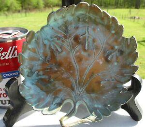 Antique ART NOVEAU Trinket Dish Verdigris Patina Brass Metal Leaf Design