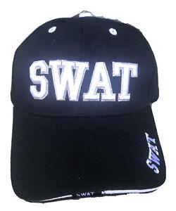 SWAT Hat Baseball Cap Adjustable Embroidered White On Black Hat Headwear