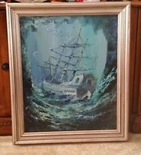 Antique 1920s Shipwrecked Gallon painting on canvas By: Pavan, in Frame