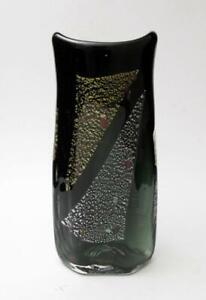 SIGNED MARC KALIFA AUSTRALIAN STUDIO ART GLASS VASE GOLD SILVER FOIL INCLUSIONS