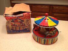 Vintage Ohio Art Tin Litho Merry Go Round W/ Box RARE FIND Excellent Cond! Music
