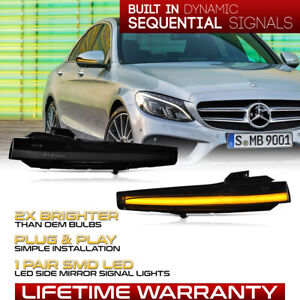 [SEQUENTIAL]Amber Signal LED Side Mirror Light Lamp For Benz C E S Class CLS GLC