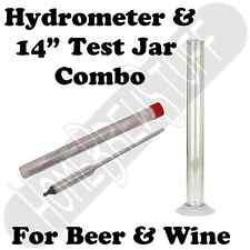"14"" Test Jar + Triple Scale Hydrometer Home Brewing or Wine Making Distilling"