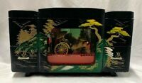 VINTAGE Japanese Rickshaw Black Lacquer Music Jewelry Box / FREE SHIPPING !