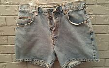 VTG 90s Calvin Klein High Waisted Jean Shorts Button Fly Stone Wash Denim CK 13