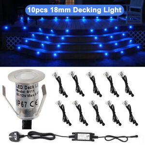 10pcs Decking Lights 18mm LED Kitchen Recessed Garden Deck Plinth Step Path Lamp