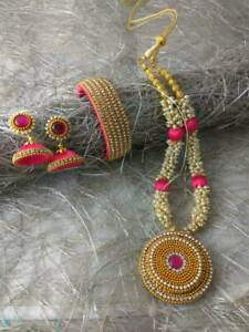 Indian Women Silk Thread Necklace Set With Bangles Gold Plated Jewelry Handmade