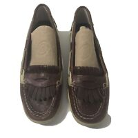 Sperry Top Sider Womens Brown Leather & Cheetah Faux Fur Loafers Sz 11M 9104514