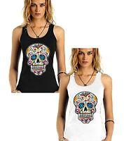 Velocitee Ladies Vest Skull Of Skulls Pirate Evil Dead Voodoo Biker V8