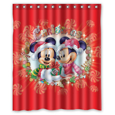Merry Christmas Micky And Minnie Mouse Print Shower Curtain Bathroom Waterproof