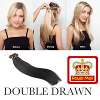 """16""""18""""20""""22"""" Micro Loop Beads Double Drawn Remy Human Hair Extensions 1G UK"""