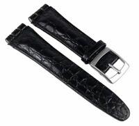 Minott Ersatzband Uhrenarmband Leder Band Schwarz  passend zu Swatch Uhren