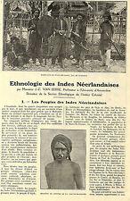 ETHNOLOGIE INDES NEERLANDAISES JAVA NIAS SUMATRA BALI ADP DE JC VAN EERDE 1928