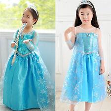 Kid Girls Frozen Princess Queen Elsa Cosplay Costume Party Fancy Dress For 4-9 Y